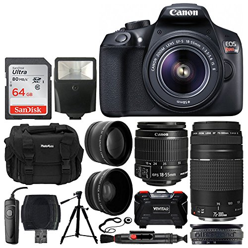 Canon EOS Rebel T6 Digital SLR Camera + EF-S 18-55mm f/3.5-5.6 IS II Lens + EF 75-300mm f/4-5.6 III Lens + 64GB Memory Card + DC59 Gadget Bag + Slave Flash + Tripod + Remote + Lens Band + Accessories