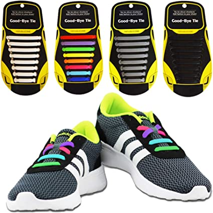 1 pair lazy No Tie Elastic lock laces Shoe laces for tennis toddlers kids adults