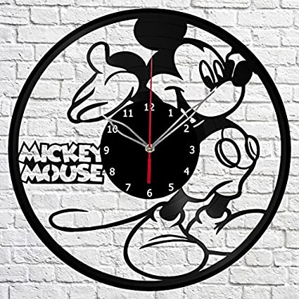 Mickey Mouse reloj de pared de disco de vinilo Fan Art hecha a mano decoración original