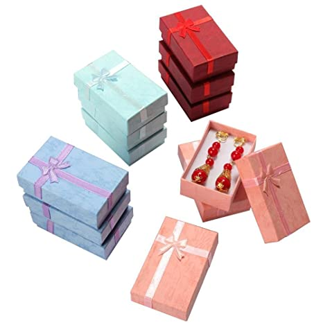 12 elegante lujo rectangular anillo pendientes joyería lazo de regalo cajas para joyas regalo embalaje
