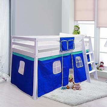 Warmiehomy Cabin Bed Wooden Mid Sleeper Cabin Bunk Bed Children Bed