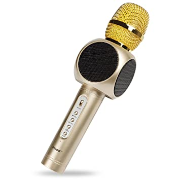 Wireless Karaoke Microphone Machine,4-in-1 Bluetooth Handheld Portable  Speaker Gold, player for Mic iPhone Android Apple PC or Smartphone
