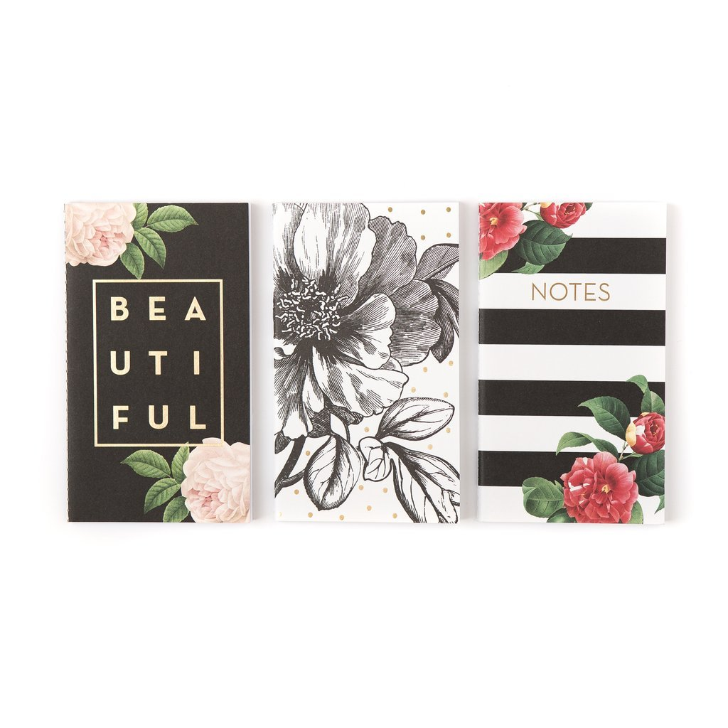 Modern Mini Designer Pocket Notebooks w/30 lined pages 4''x7'' (Black & White Botanical/Floral/Striped Set) 3 pack - perfect travel purse size for notes and gratitude journaling on the go