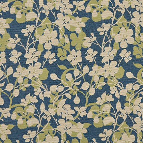 A0106A Beige Dark Blue and Lime Green Floral Woven Solution Dyed Indoor Outdoor Upholstery Fabric by The Yard