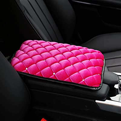 U&M Bling Bling Auto Armrest Console Cushion, Soft Plush Luster Crystal Arm Rest Padding Protective Case Diamond Car Decor Accessories for Women (Pink-Plush): Automotive