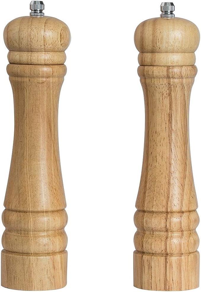 DeroTeno Moulin /à poivre Moulin en c/éramique durable et r/églable Hauteur de 30 cm Bois dh/év/éa