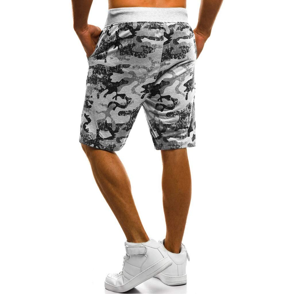 yoyorule Casual Summer Pants Men Spring Summer Camouflage Printed Drawstring Beach Surfing Running Short Pant