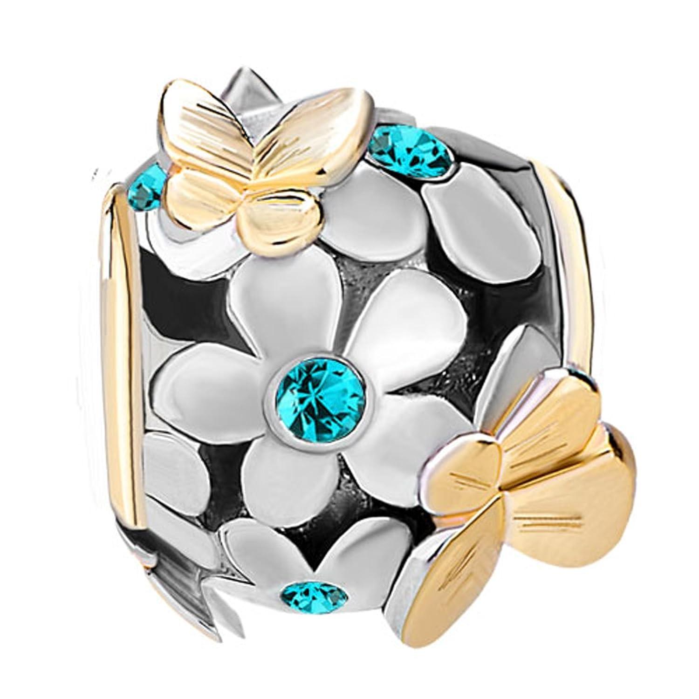 ShinyJewelry Synthetic Birthstone Butterfly Flower Beads Charm for European Bracelet