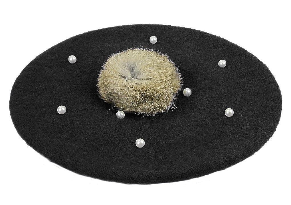 Kids Girls Lovely Pompom Beads French Beret Hat Artist Beanie Cap for 3-6 Yrs
