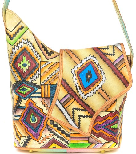ZIMBELMANN SANDY Genuine Nappa Leather Hand-painted Flap Shoulder Bag by Zimbelmann
