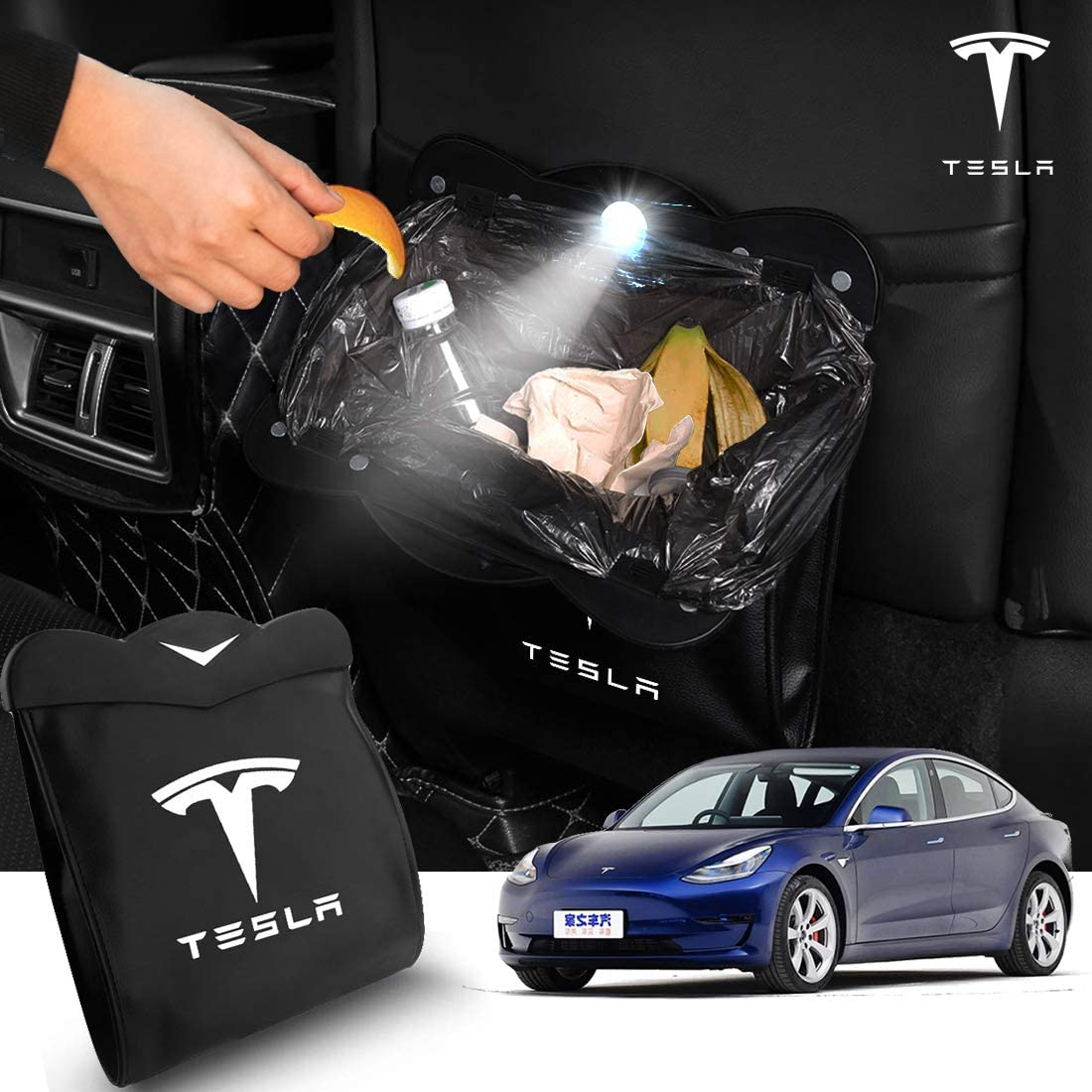 HACHISHOP Car Trash Bag with Superior Leather Compatible with Tesla Model 3 Hanging and Magnet Closure Vehicle Rubbish Container Garbage Can and Storage Bin Pockets
