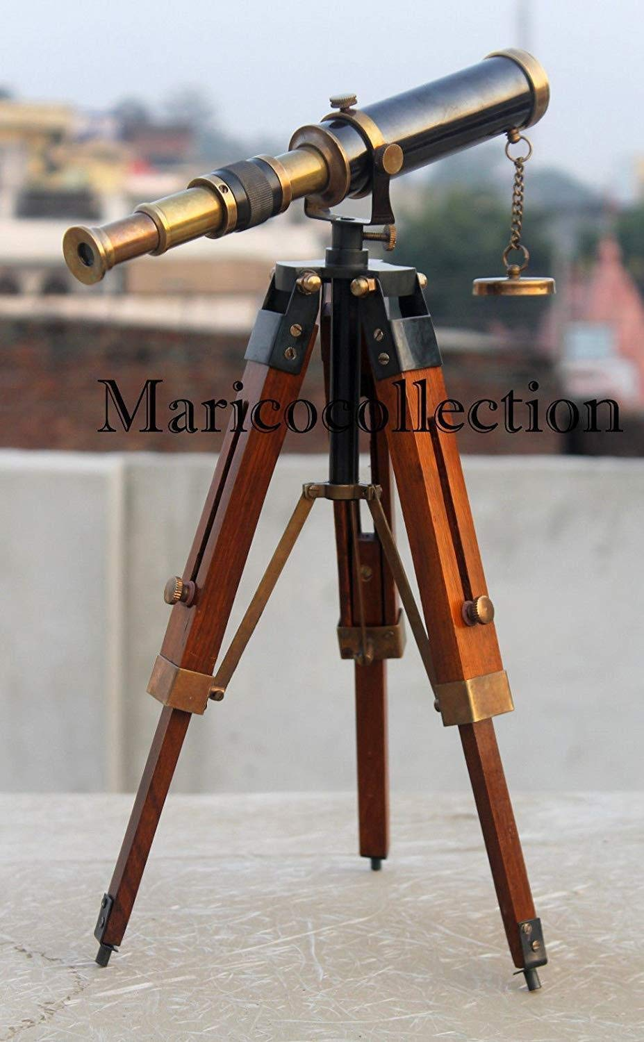 Antique Nautical Brass Maritime Telescope with Wood Tripod Marine Beautiful Gift. A