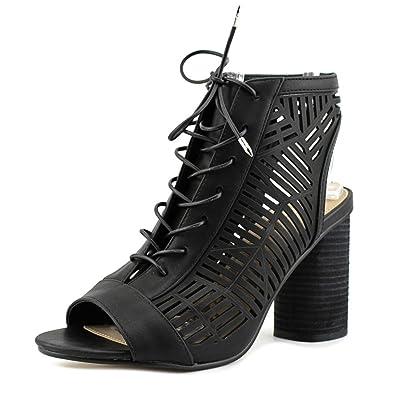 Rocco Women Peep-Toe Synthetic Black Bootie