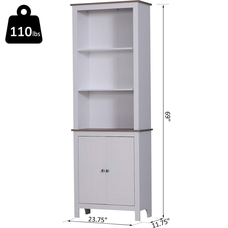 Homcom 69 Tall Wood Kitchen Pantry Cupboard Storage Cabinet Shelves