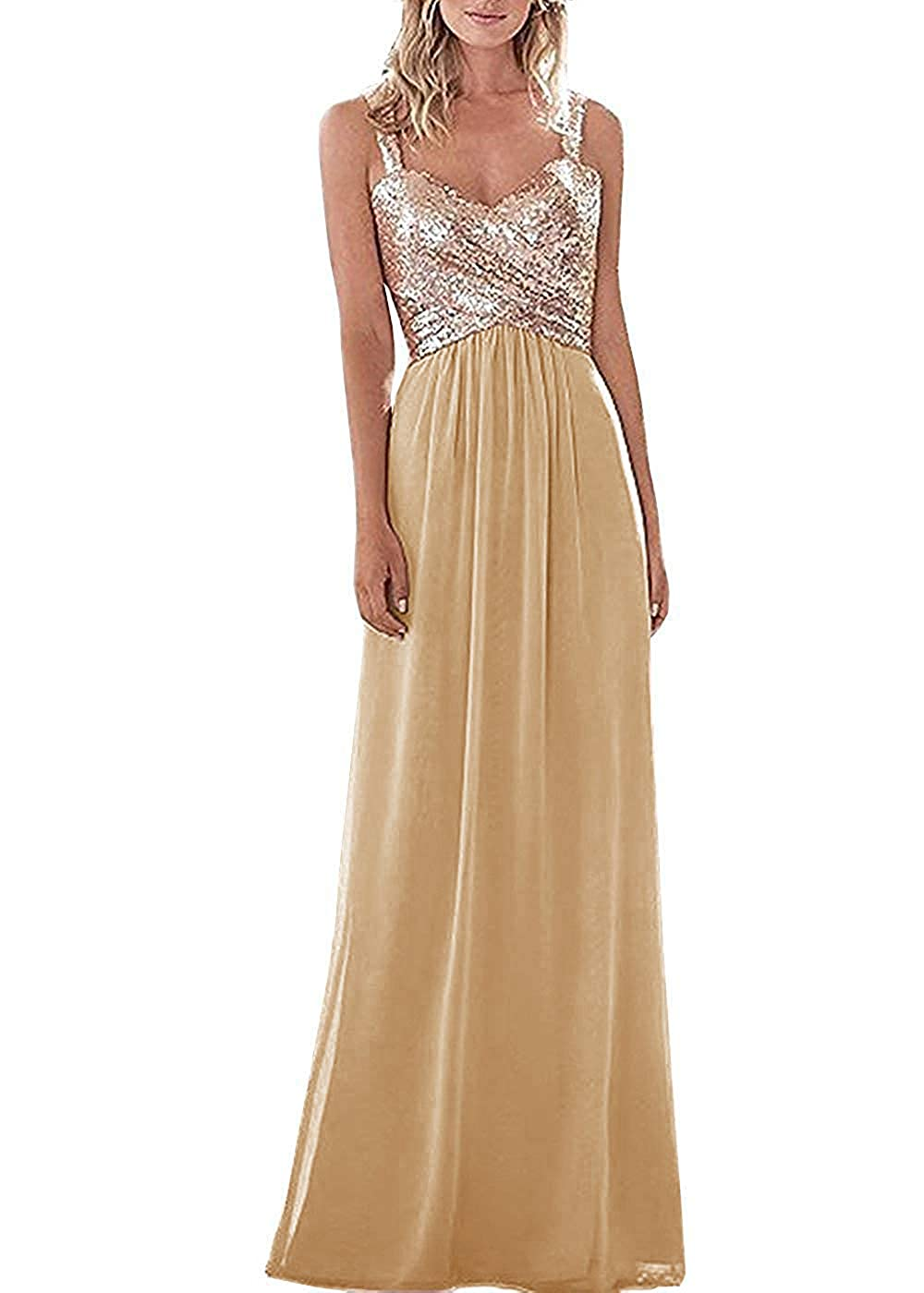 Champagne C LL Bridal Top Sequins pink gold Bridesmaid Dress Long Prom Party Dresses Evening