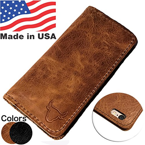 (MADE in USA iPhone 6/6s PLUS Folio Book Case | Genuine American Distressed Leather Wallet Book Case iPhone 6/6S PLUS 3 Credit Card Slots, ID/Bill Compartment, Best Screen Protection (Brown))