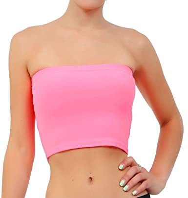 1cd900d93e 21FASHION Womens Plain Strapless Bandeau Boob Tube Ladies Sleeveless Stretch  Bra Crop Top  Amazon.co.uk  Clothing