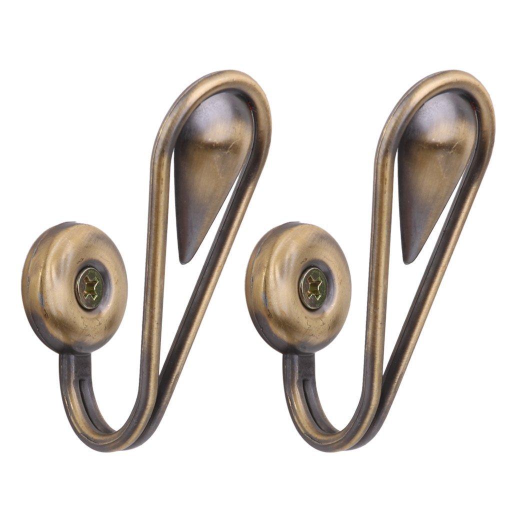 SODIAL(R) 1 pair of Tear Shape Vintage Zinc alloy Curtain Holdbacks Tieback Hooks(Golden) LEPAZN073