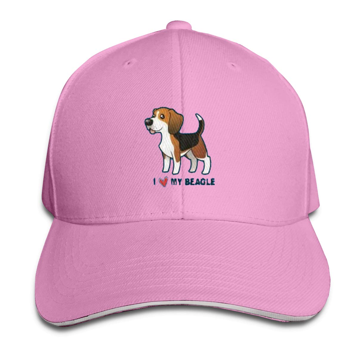I Love My Beagle Classic Adjustable Cotton Baseball Caps Trucker Driver Hat Outdoor Cap Pink