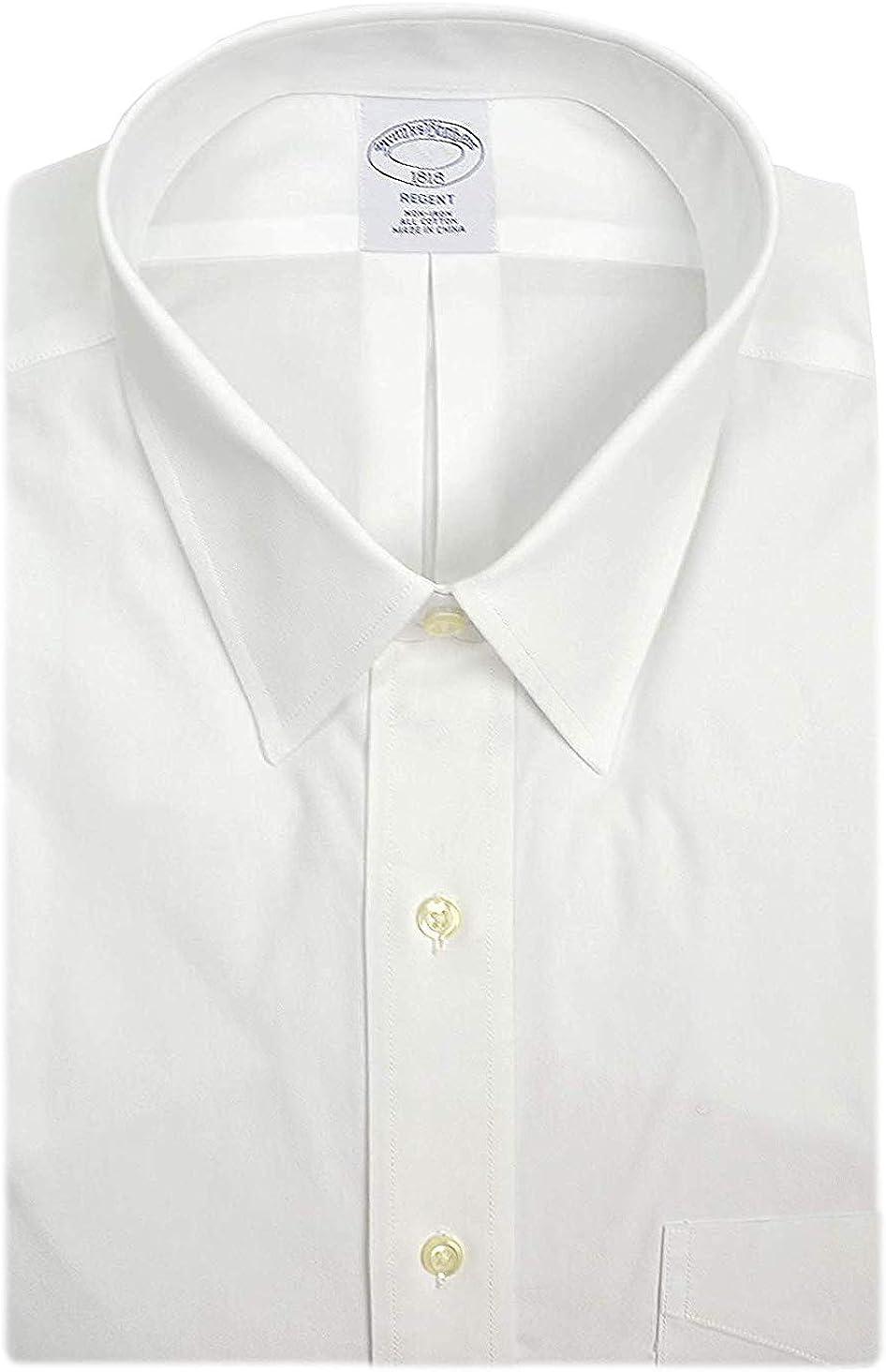Brooks Brothers Camisa de vestir para hombre, 100% algodón, no necesita planchado, color blanco brillante