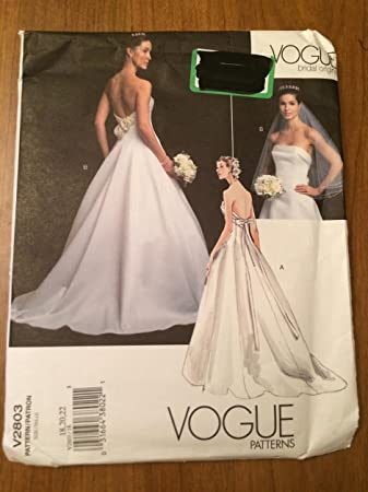 Amazon.com: Vogue V2803 Sewing Pattern, Misses\' Wedding Dress ...
