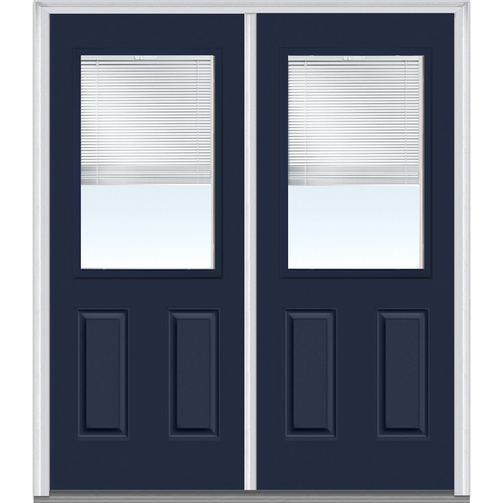 National Door Company Z010156R Steel Naval, Right Hand In-swing, Prehung Door, 1/2 Lite 2-Panel, Clear Glass with RLB, 60'' x 80''