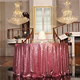 PartyDelight Fuchsia Pink Sequin Tablecloth Table Linen for Wedding, Banquet, Party, Round 108-inch