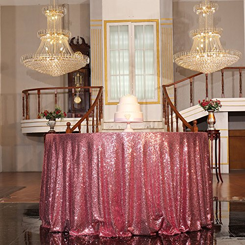 "PartyDelight Sequin Tablecloth, Christmas Tree Skirt, Round, 50"", Fuchsia Pink"
