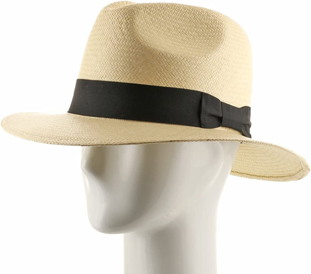 Ultrafino New Fedora Safari Panama Hat Natural Straw Size