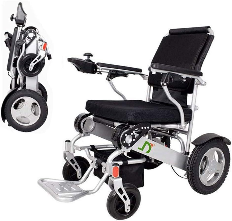 Sillas de ruedas eléctricas plegables Inteligente silla de ruedas eléctrica plegable de peso ligero, plegable Deluxe Doble alimentación compacto ayuda motriz sillas de ruedas, batería dual, más larga