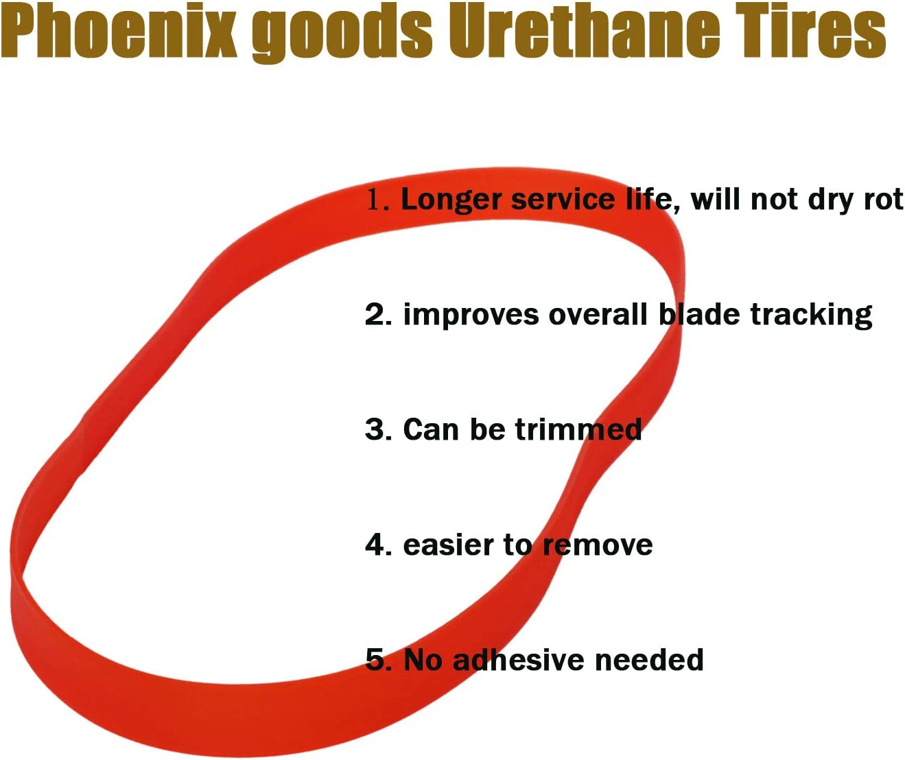 Urethane Bandsaw Tires 10 inch x 7//8 inch x .095 inch 2 Pack for most 10 Band Saws No Adhesive Needed Phoenix goods