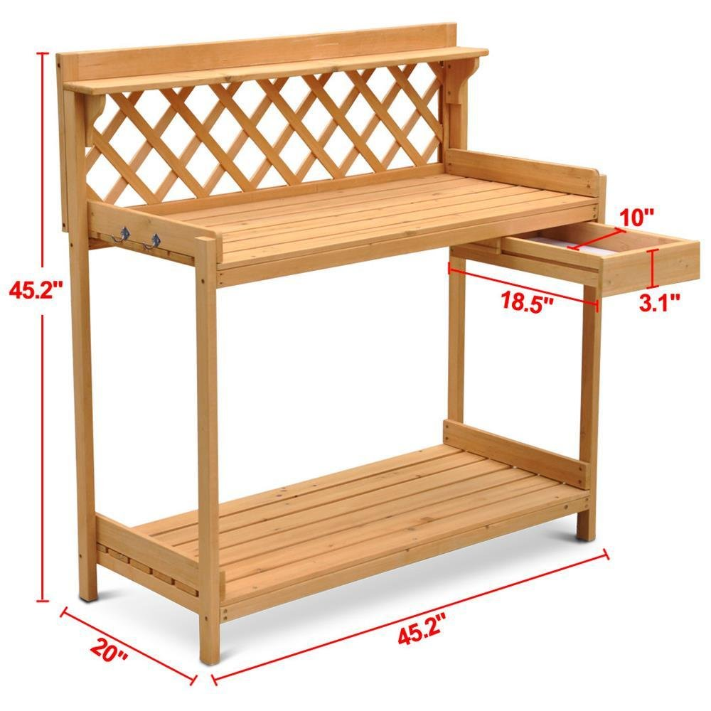 go2buy Wood Potting Bench Outdoor Garden Planting Work Station Table Stand Natural Finish by Gotobuy (Image #3)