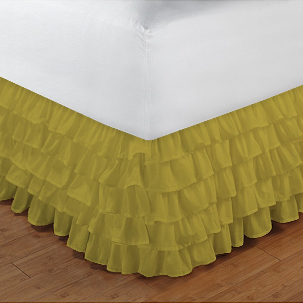 Relaxare Full XXL 300TC 100% Egyptian Cotton Yellow Solid 1PCs Multi Ruffle Bedskirt Solid (Drop Length: 14 inches) - Ultra Soft Breathable Premium Fabric