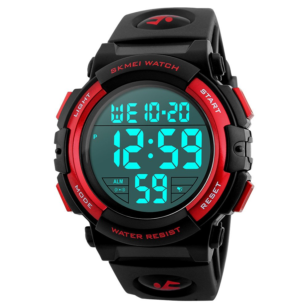 Boys Waterproof Outdoor Sports Watches,Skmei Electronic LED Digital Multifunction Girls Kids Wrist Watch,W/ Alarm Back Light (red)