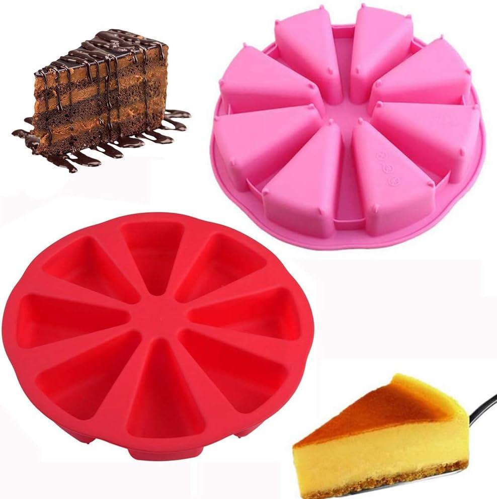 8 Cavidade Bandeja De Pizza Moldes para Hornear 2Pcs 8 Agujeros Molde De Pastel de Silicona Redondo para Tartas XYDZ Molde De Pastel Triangular Molde de reposter/ía para Hornear