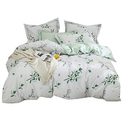 5d73b5017 Floral Green Leaves Duvet Cover Set Queen Reversible Print Cotton Bedding  Set Full Fresh Soft Kids