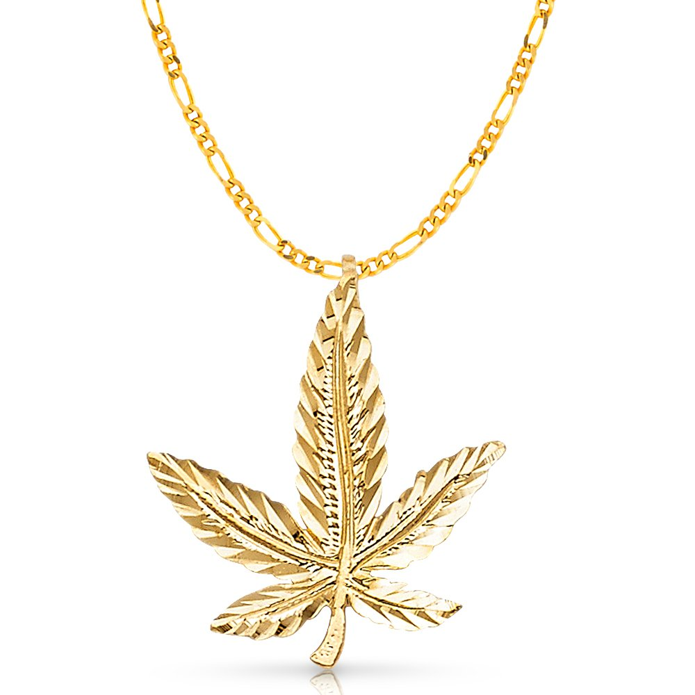 14K Yellow Gold Marijuana Leaf Charm Pendant with 2.2mm Figaro 3+1 Chain Necklace