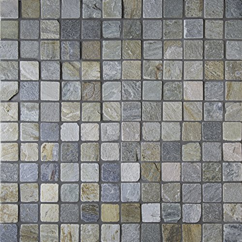 M S International Golden White 12 In. X 12 In. X 10 mm Tumbled Quartzite Mesh-Mounted Mosaic Tile, (10 sq. ft., 10 pieces per case) - Slate Mosaic Tiles