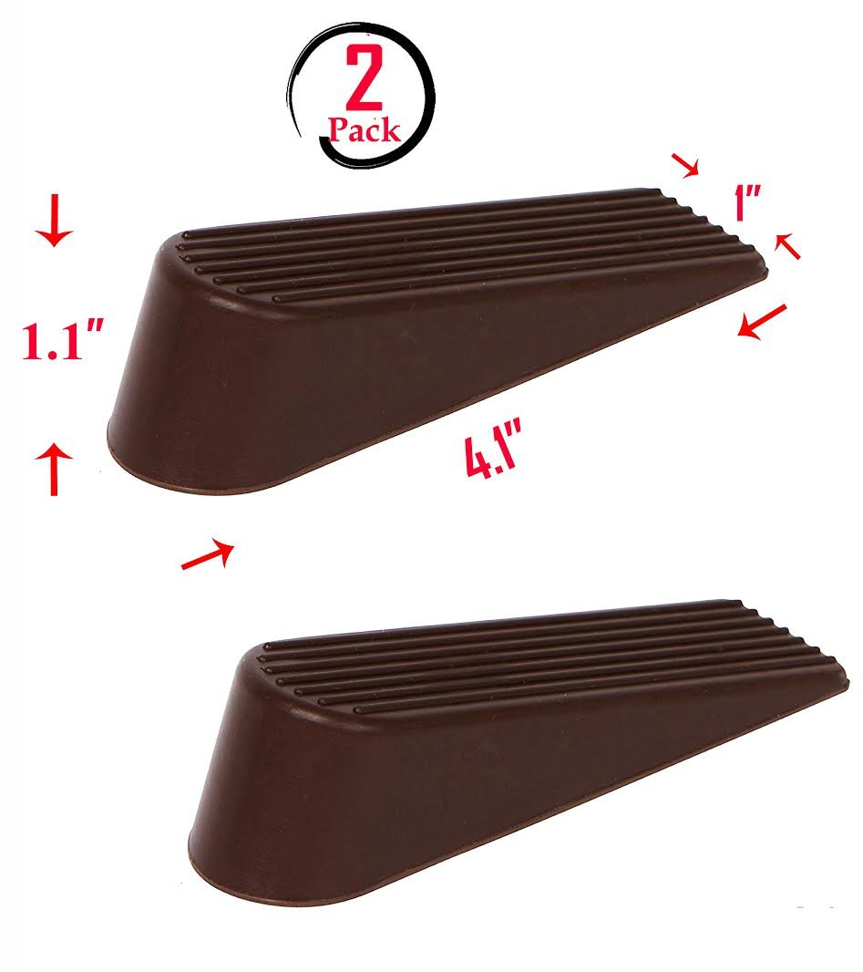 (Set of 2) Door Stopper, Heavy Duty Flexible Rubber Door Wedge, Strong Grip, Non Scratching, Works on All Surfaces, Brown