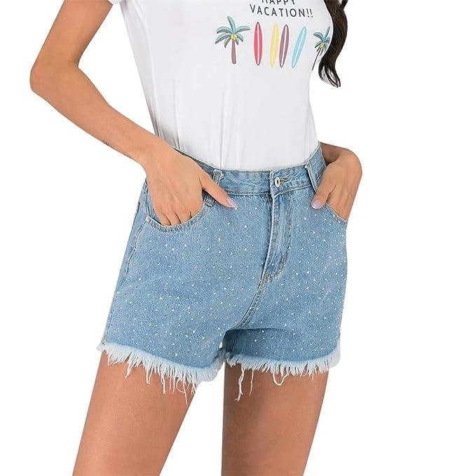 FELZ Pantalones Cortas Pantalones Cortos Mujer Vaqueros ...