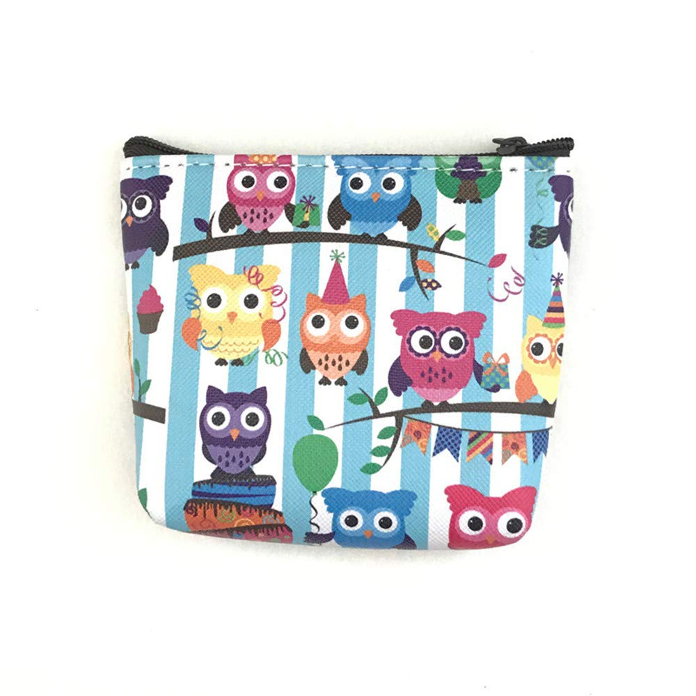 Women Retro Simple Owl Printing Zipper Short Coin Purse Card Holders (C)
