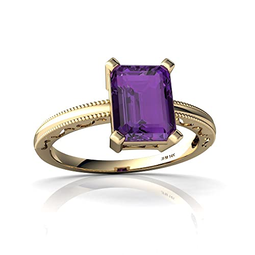 14kt Gold Amethyst 8x6mm Emerald_Cut Milgrain Scroll Ring