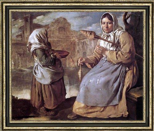 "Giacomo Ceruti Little Beggar Girl and Woman Spinning - 20"" x 25"" Framed Premium Canvas Print"
