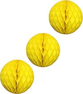 product image for 3-Pack Large 14 Inch Honeycomb Tissue Paper Party Ball Decoration (Yellow)