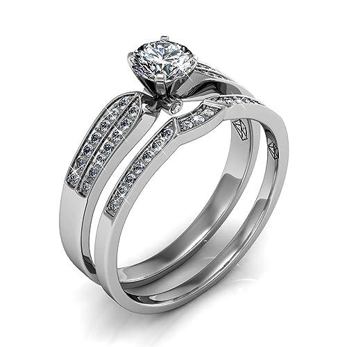 Swarovski Elements 18 K chapado en oro blanco anillos de boda de cristal de forma de