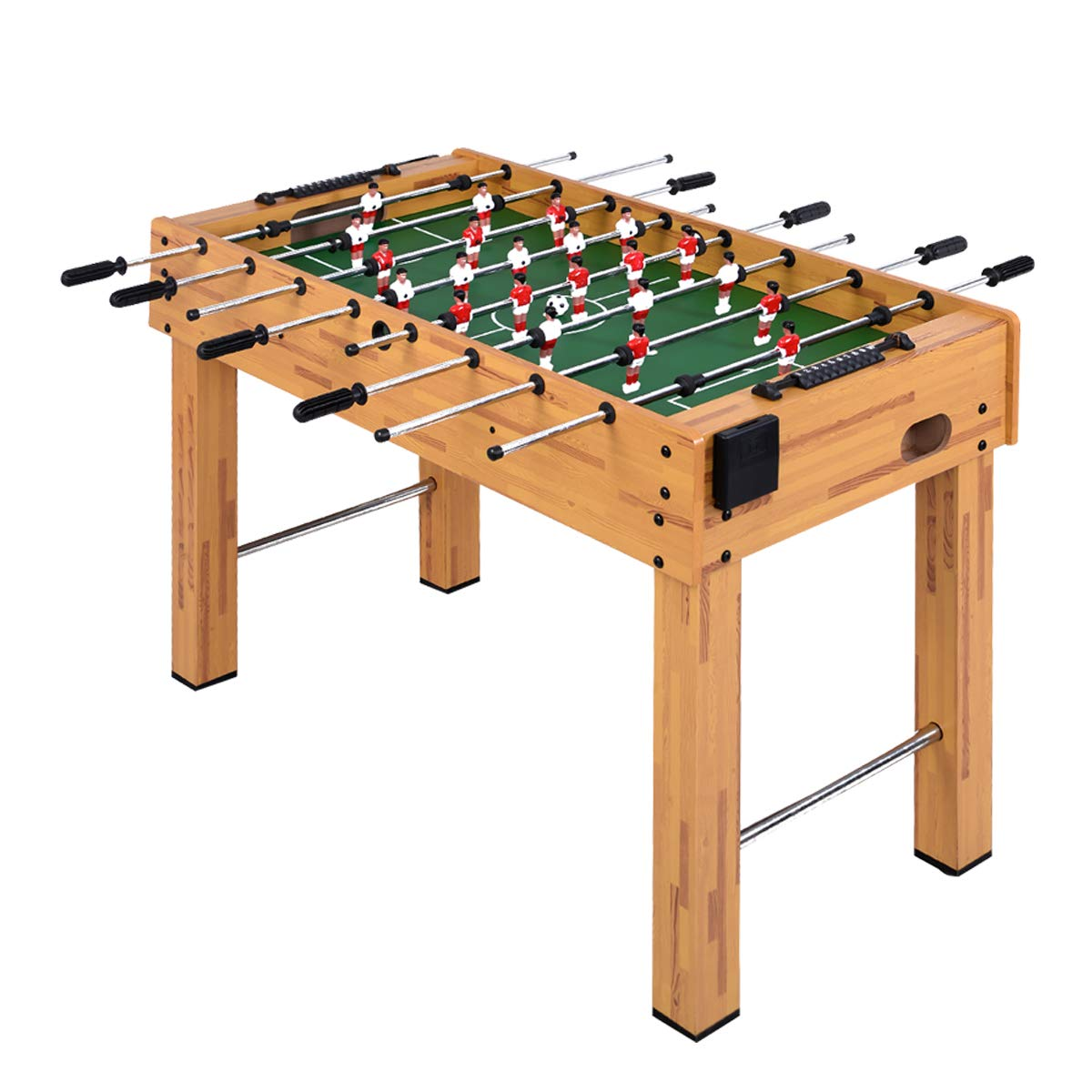 Goplus 48'' Foosball Table, Soccer Game Table w/ 2 Balls, Cup Holder Competition Sized Football Arcade for Indoor Game Room Sport (Burlywood) by Goplus