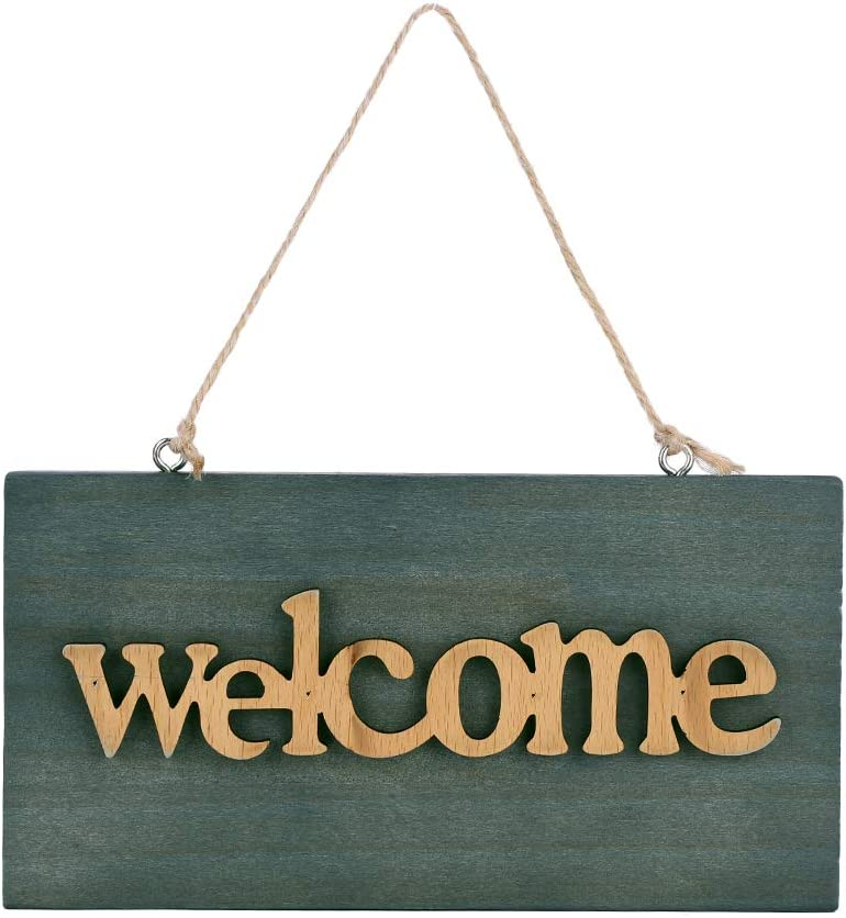 Wall Hanging Welcome Sign Decorative Wooden Hanging Sign Plaque Front Door Porch Entrance Decorations Hanging Pendant Welcome Tag Wall Art for Home Bar Resturant Bookstore Coffee Shop Beach Decor