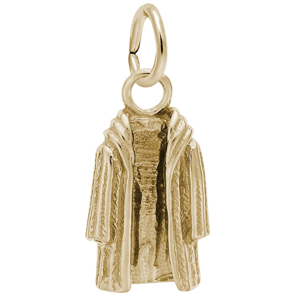 Fur Coat Charm In 14k Yellow Gold, Charms for Bracelets and Necklaces