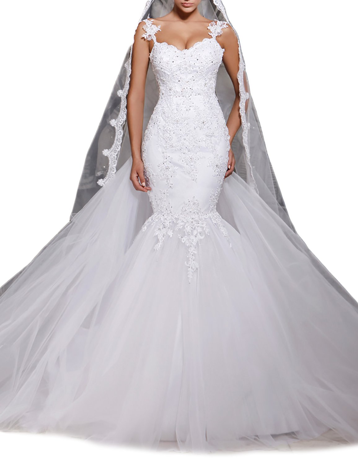 Udresses Womens Mermaid Lace Wedding Gown Beaded Tulle Bride Dress with Train UWD18 White 6