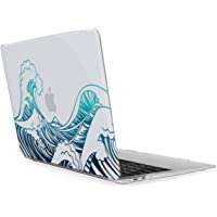 """kwmobile Crystal Case Cover for Apple MacBook Air 13"""" Retina (ab Ende 2018) with Waves Transparent Laptop Protective case in Blue/Dark Blue/Transparent"""
